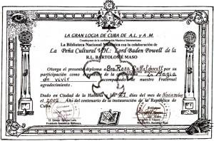 Diploma Gran Logiade Cuba